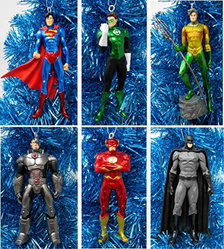 Ornament Super Hero Christmas Set Featuring Classic Justice League Member Characters - Unique Shatterproof Plastic Design]()