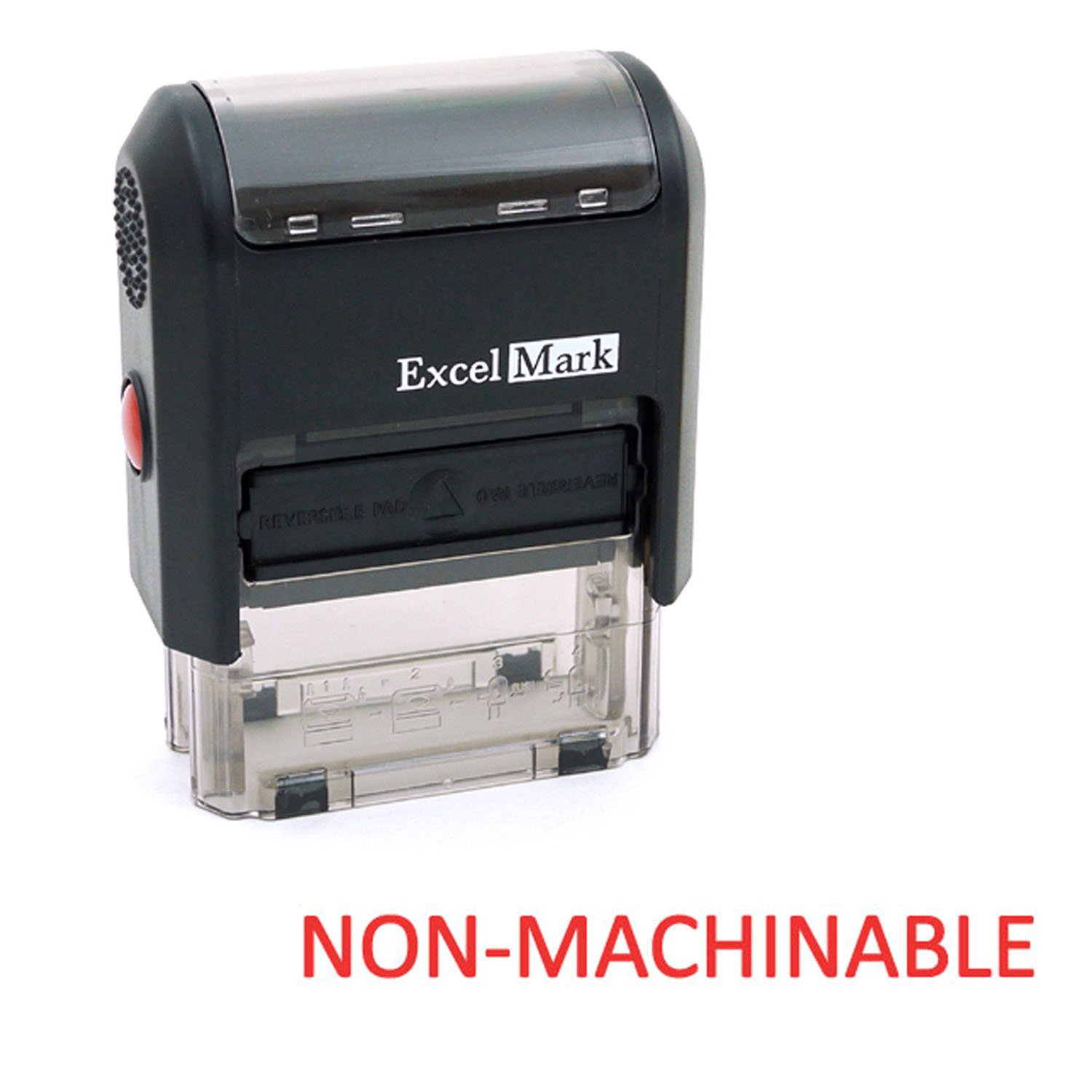 NON-MACHINABLE Self Inking Rubber Stamp - Red Ink (ExcelMark A1539)