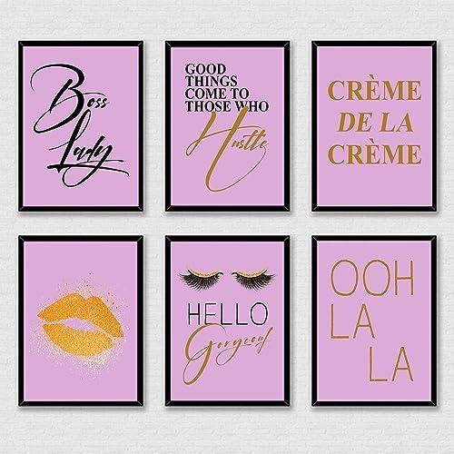 Fashion Wall Art Unframed Lip Print Set of 2 Hello gorgeous Print Pink Purple Wall Art Lips Print Eye Lashes Print Fashion Print Fashion Illustration Girl Room Decor 8 x 10