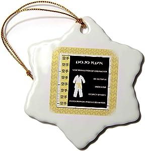 VinMea Dojo Kun, Japanese Martial Arts, Karate Rules, Yellow Belt Snowflake Ornament Christmas Ornament Keepsake