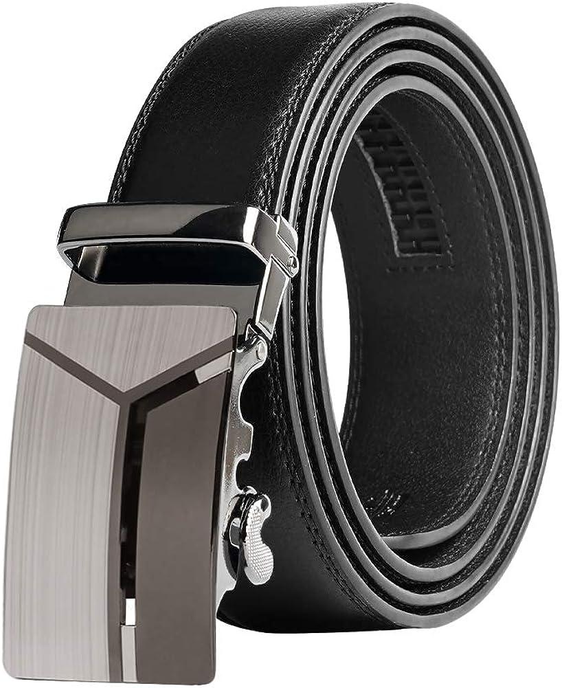 125cm Taglia Per Adattarsi Nero Cinture Scorrevole per Completo KEYNAT Cintura Uomo in Pelle con Fibbia Cricchetto Automatica 3.5