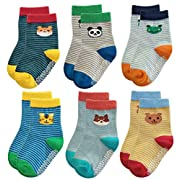 Deluxe Non Skid Anti Slip Slipper Cotton Crew Socks With Grips For Baby Toddlers Kids Boys (3-9 Months, 6 designs/set-3)