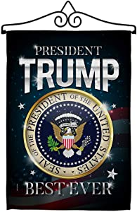 Trump Flag US President 46 Garden Flag Set Wall Hanger Patriotic Vote Democrat Republican Tea Party United State American Election House Banner Small Yard Gift Double-Sided, Made in USA