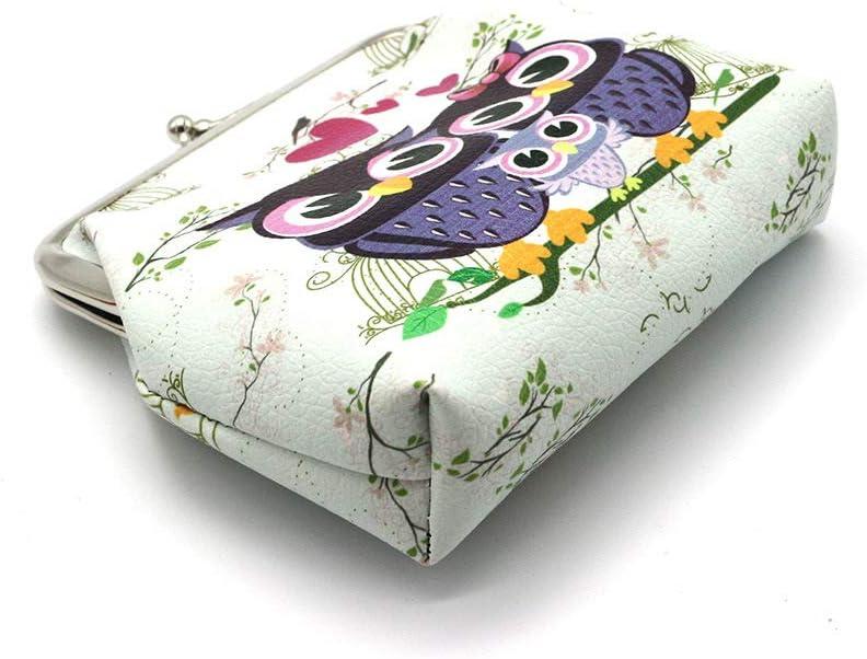 Oyachic 2 Packs Mini Porte-Monnaie Motif Hibou Owl Wallet R/étro Pochette Bag avec Fermoir,Kiss Lock Coin Purse,Cuir Sac /à Main Femmes