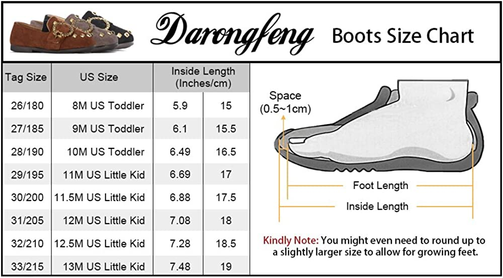 DARONGFENG Toddler Kid Girls Rivet Loafer Shoes Metal Pentagram Decor Slip-on Soft Suede Leather Casual Flats Sneakers Brown