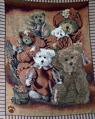 Tache Teddy Bear Family Portrait Festive Tapestry Throw Blanket (Teddy Portrait)