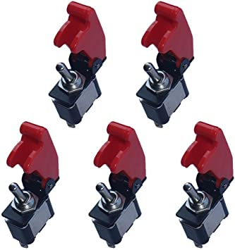 E Support 5 X Rote Abdeckung Kippschalter Schalter Wippschalter 12v 20a Led Spst 2 Polig Metall Auto
