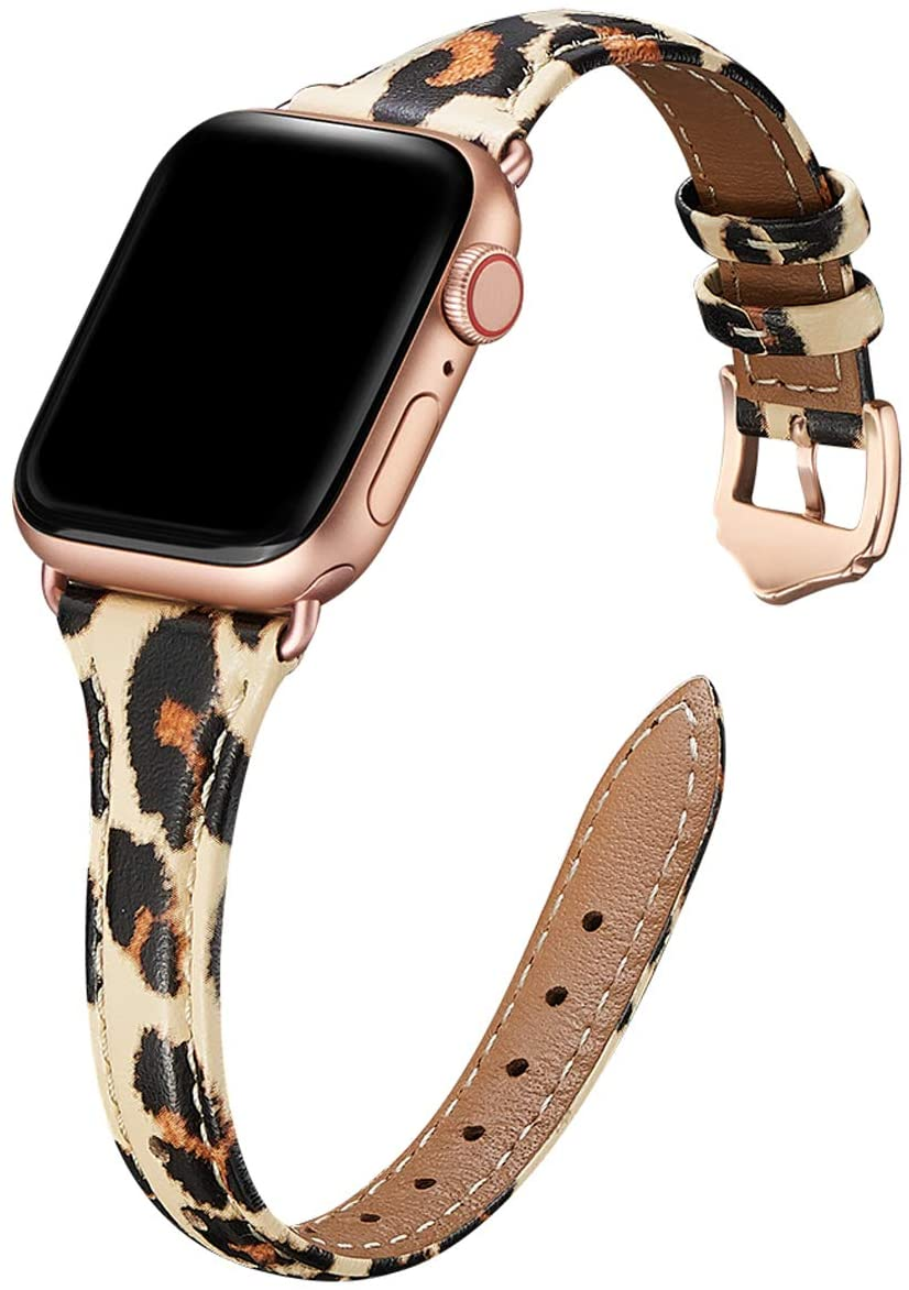 WFEAGL Leather Bands Compatible with Apple Watch 38mm 40mm , Top Grain Leather Band Slim & Thin Replacement Wristband for iWatch SE & Series 6/5/4/3/2/1 (Leopard Band+Rosegold Adapter, 38mm 40mm)