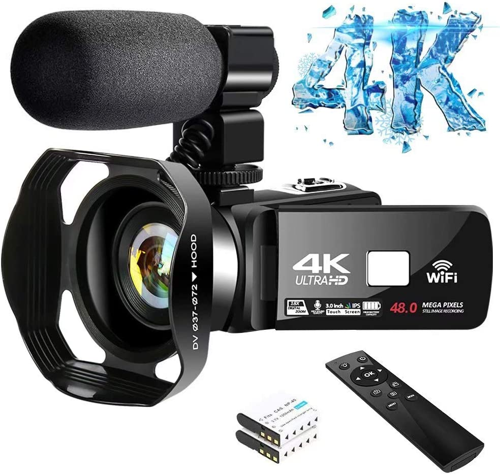 4K Video Camera Ultra HD Camcorder 48.0MP IR Night Vision Digital Camera WiFi Vlogging Camera with External Microphone and Lens Hood, 3 in Touch Screen (V4G)