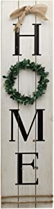 NO/BRAND Rustic Large Home Sign Decor with Wreath for O|Vertical Wooden Home Sign Plauqe|Farmhouse Wall Hanging Housewarming Gift