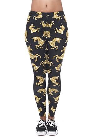 f1f18ad3b6e34e Hanessa Frauen Leggins Schwarz Gold Bedruckte Leggings Hose Frühling Sommer  Kleidung Einhorn L12