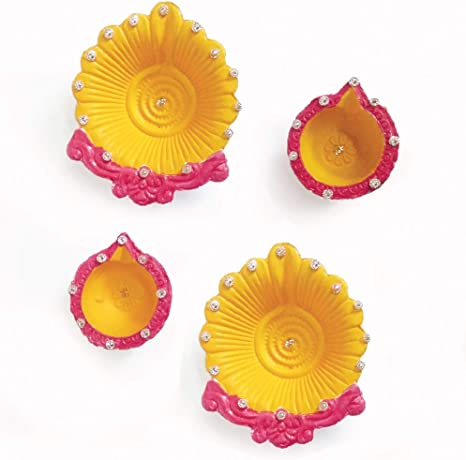 Amazon Com Arvana Diwali Diya For Pooja Decorations Home Decor Indian Items For Gifts Pack Of 4 Furniture Decor