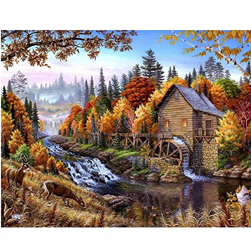 Diamond Garden (Vibola DIY 5D Diamond mosaic Landscapes Garden lodge Painting Cross Stitch Kits Diamonds Embroidery Home Decoration)