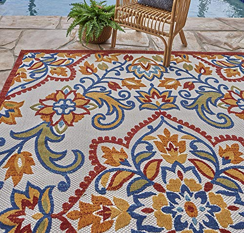 Gertmenian 21618 Indoor Outdoor Rugs Patio Area Carpet, 8x10 Large Rainbow Floral Medallion