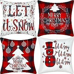 Christmas Farmhouse Home Decor Jetec 4 Pieces Christmas Decorative Pillow Cover Buffalo Plaid Sofa Back Throw Cushion Cover for Winter Christmas… farmhouse christmas pillow covers