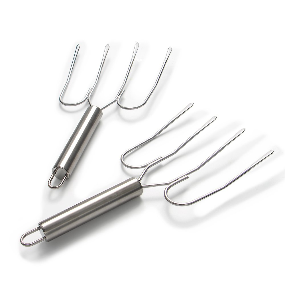 ShengHai Medium Stainless Steel Poultry Forks and Turkey Lifter, Set of 2, Heavy-duty RunHua