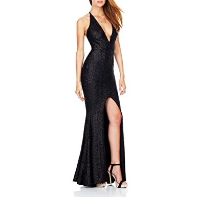Amazon Women Sexy Evening Gown Long Sequins Slit Front Formal