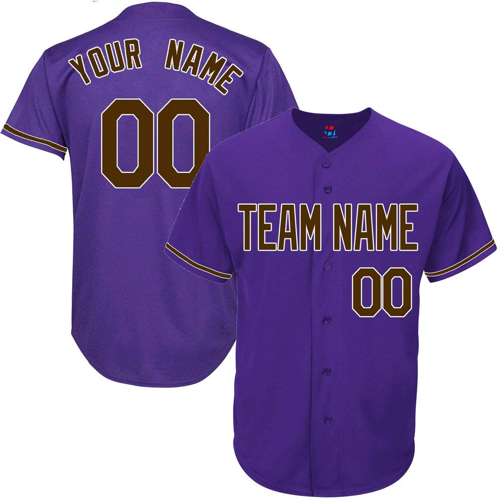Purple Custom Baseball Jersey for Men Big and Tall Throwback Embroidered Team Player Name & Numbers,Brown-White Size 4XL by Pullonsy