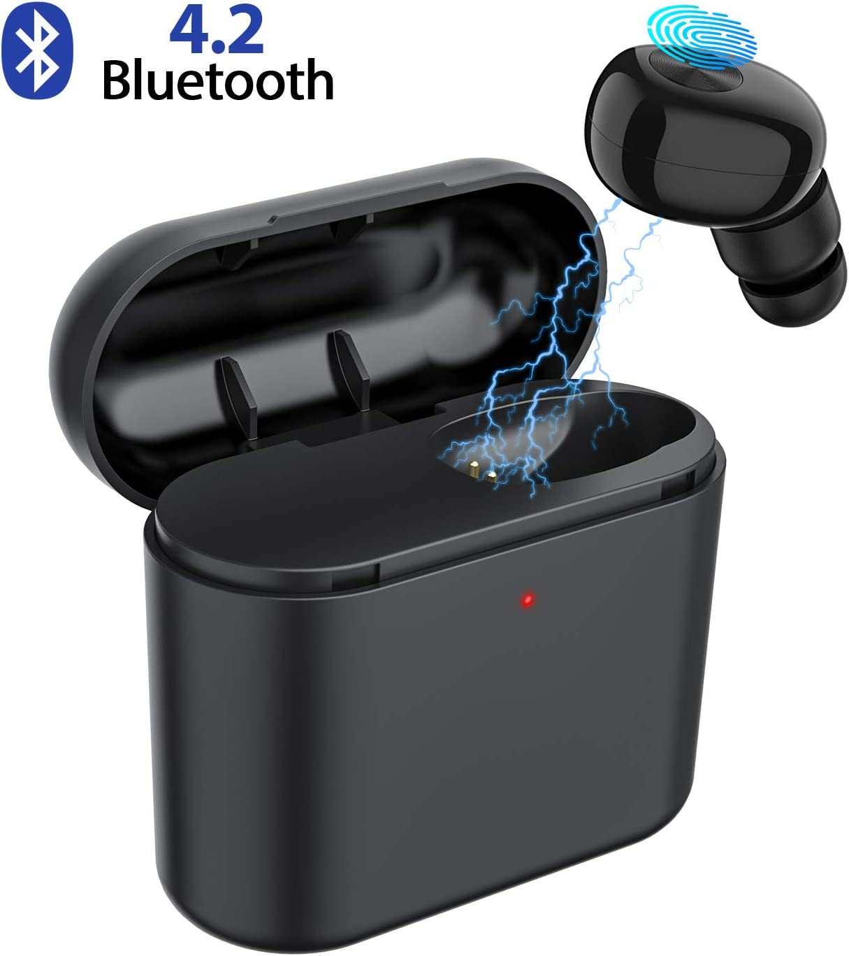 Bluetooth Earbud,ownta Wireless Headphones with Light Charging Case Headset Single Earbud Compatible Smartphone iPhone 6 7 8 Plus X iPad Samsung Android BB9