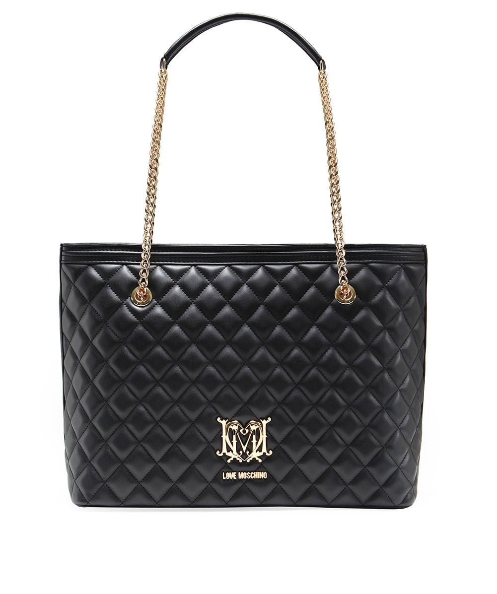 Love Moschino Quilted Logo Womens Handbag Black