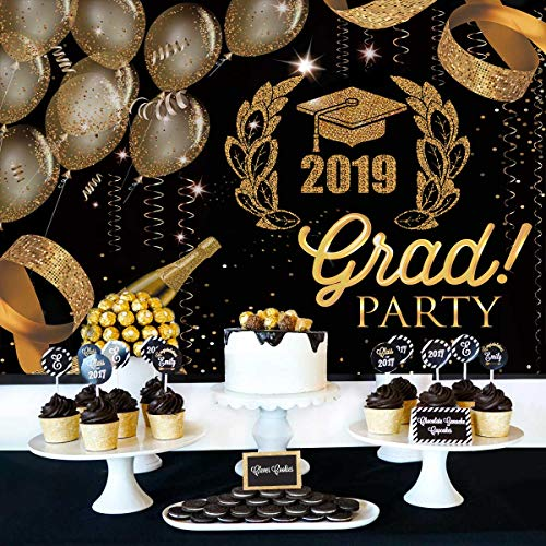 Table Decorations For Prom (Graduation Party Backdrop Class of 2019 Photography Background Congrats Grad Prom Decorations Photo Studio Booth Props Cake Table)