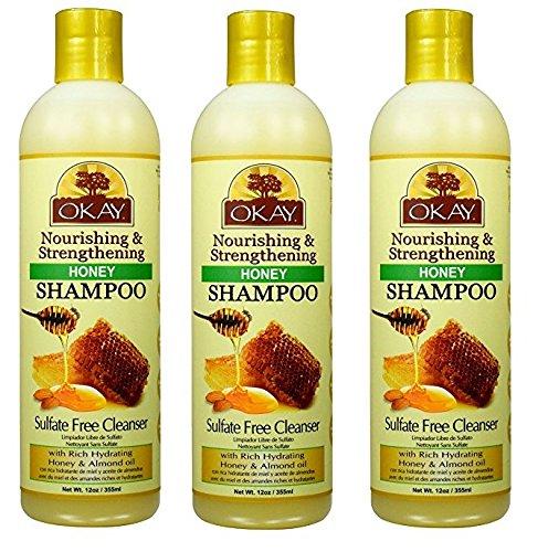 Honey Strengthening - [ PACK OF 3 NEW ARRIVAL] OKAY HONEY SHAMPOO NOURISHING & STRENGTHENING SULFATE FREE CLEANSER 12 OUNCE EA