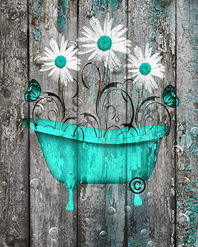 Rustic Modern Wall Decor, Daisy Flowers, Butterflies, Turquoise Grey Farmhouse Bathroom 8x10 Inch Picture With 11x14 Inch White Mat Country Bath Wall Art