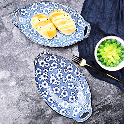 YALONG Au Gratin Pans Oval Ceramic Serving Baking Dish Set with Pan Scraper 11-Inch, Set of 4, Fine Porcelain Blue and White Color Mother's Day Gift by YALONG (Image #6)