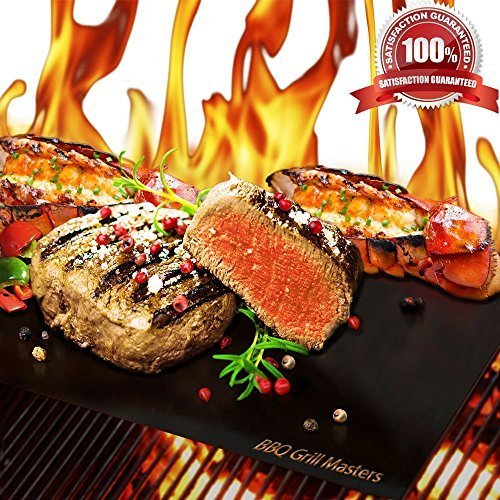 BBQ Grill Masters Premium Quality Grill Mat - Set of 3 + Grilling Recipe eBook - Works Great as a Baking Mat or Pan Liner - 100% Non-Stick and Reusable as Grill Pan or Griddle - Durable BBQ Grill Mats