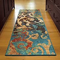 ON 23 x 8 Brown Orange Floral Runner Rug Rectangle, Indoor Blue Gold Flower Theme Hallway Carpet Spring Summer Tropical Flowers Entryway For Entrance Way Coastal Nautical, Polypropylene