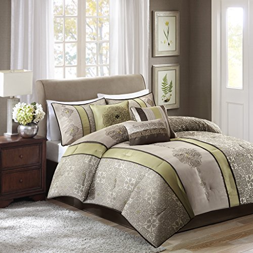 Size Queen Jacquard Comforter (Madison Park Donovan Queen Size Bed Comforter Set Bed In A Bag - Taupe, Sage Green, Jacquard Pattern – 7 Pieces Bedding Sets – Ultra Soft Microfiber Bedroom Comforters)