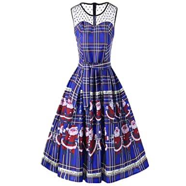 d883f99892f5 TWGONE Swing Dress Women Sleeveless Vintage Christmas Plaid Santa Claus  Sheer Printed Lace Insert Dress (