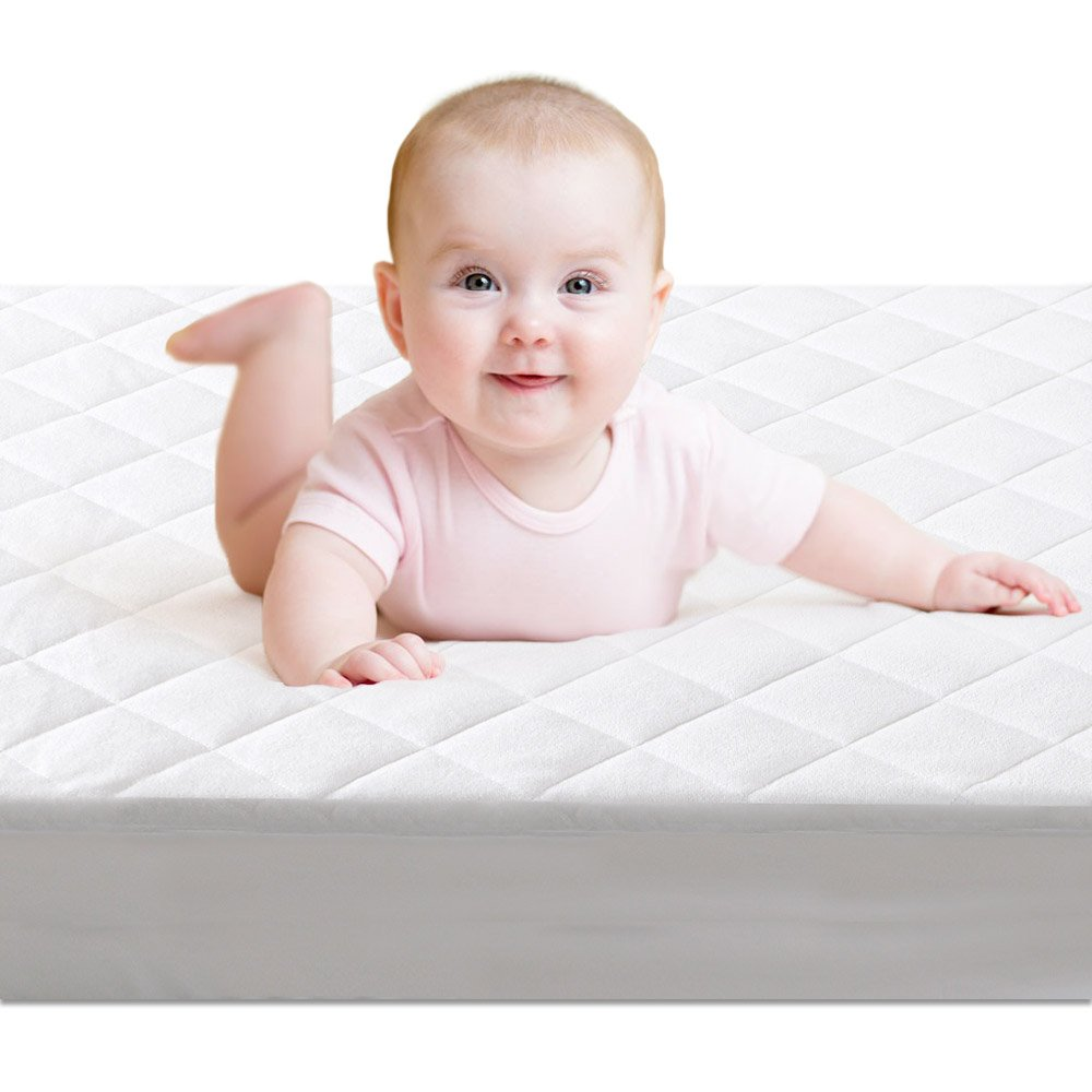 Crib Mattress Protector,BROLEX Baby Crib Mattress Cover,White Terry Quilted,Safety Padded,Breathable,Ultra Absorbent,Fitted Sheet Style