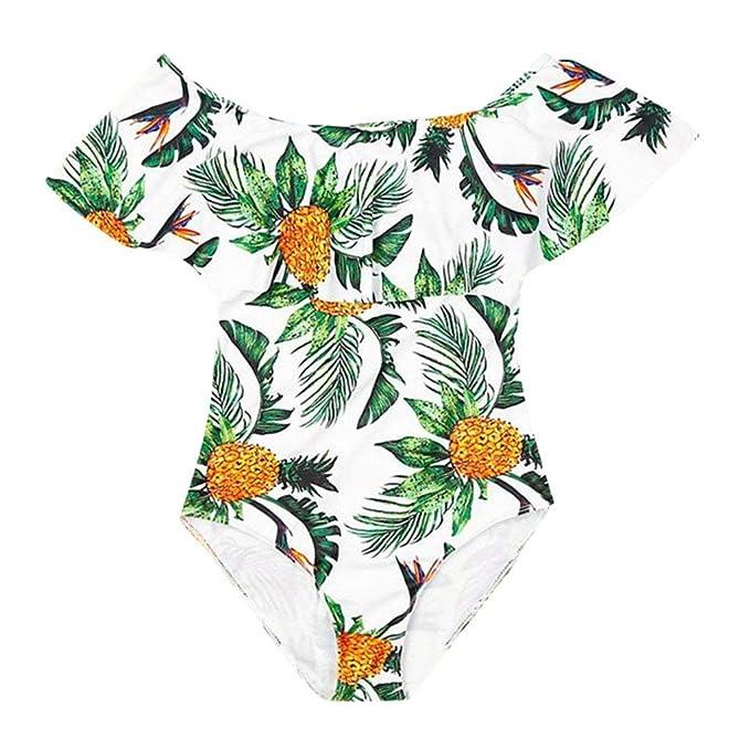 POLP Bikinis Mujer 2019 Madre Niña Bikini Sexy Conjunto de Trajes de baño Acolchados Rayas Ropa de Playa Bikinis Padre Hijo Blanco 1pc S/M/L/XL: Amazon.es: ...