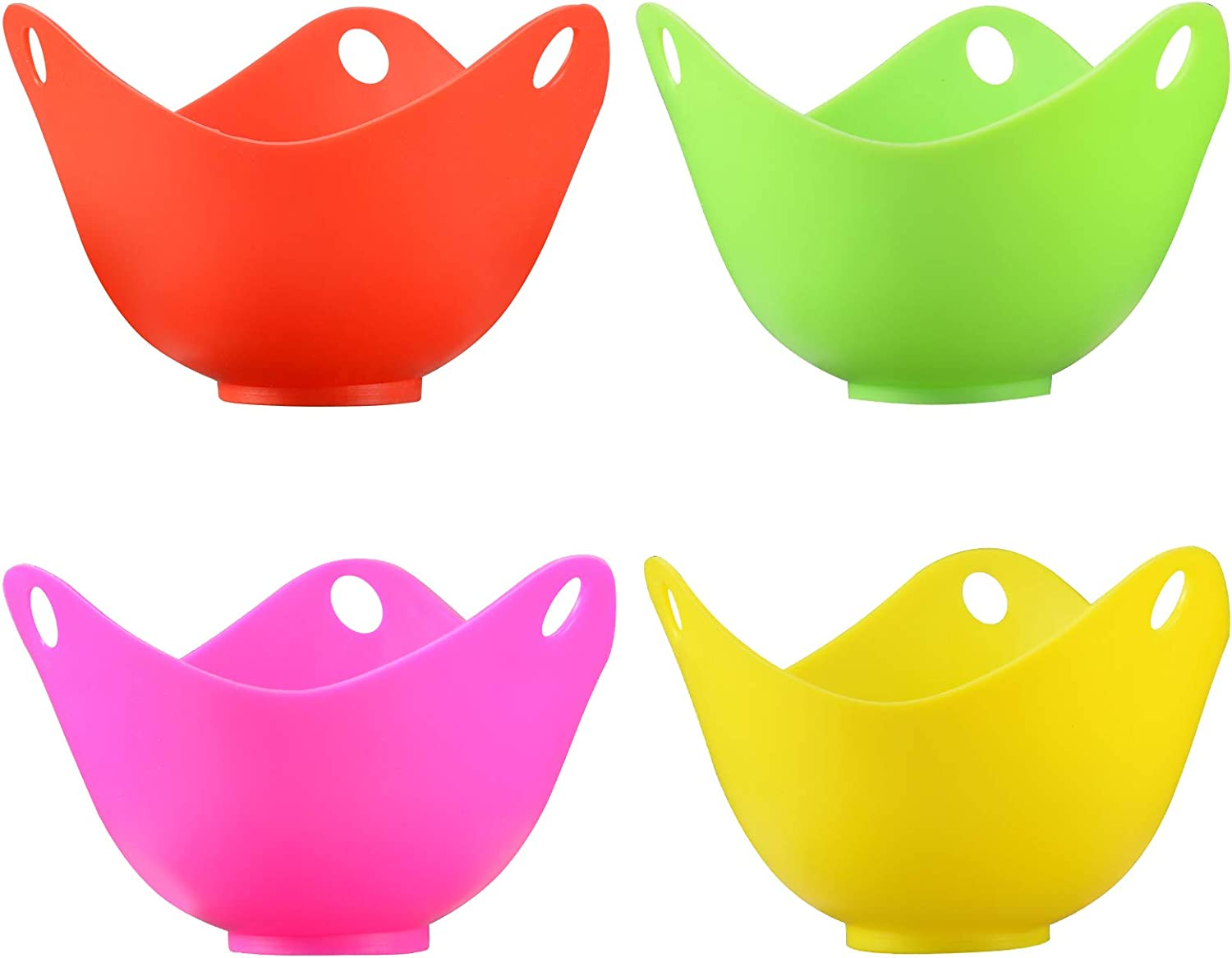 Pack of 2 Basket Holders Best Egg Poacher Cups Makes a Perfect Single Poached Egg Dish in Silicone Pod Steamer cooked in a Pan Color is Green Pouch Reliable Home Products