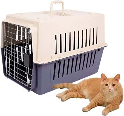 Lucky Tree 4 Size Pet Carrier Cat Carriers Kennel Crate Airline Approved Kitty Travel Cage Plastic Lightweight and Safe to Carry for Puppy Bunny Cats 2 Color