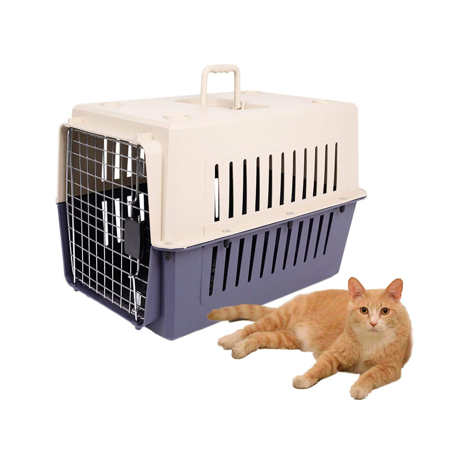 Dporticus Portable Pet Airline Box,Outdoor Portable Cage Carrier Suitable for Dogs Cats Rabbits Hamsters etc,Three Size