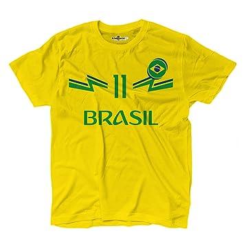 KiarenzaFD Camiseta Camiseta Fútbol Philippe Coutinho Sami Brasil 11 Hombre, KTS01895-S-yellow