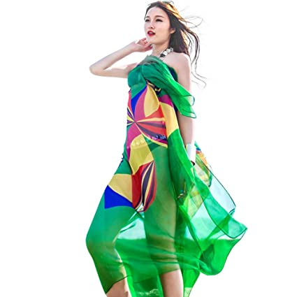 8476b69091d09 Image Unavailable. Image not available for. Color  Sexy Women Chiffon Beach  Swimwear Sarong Wrap Dress Bikini Cover Up Scarf (Green)
