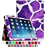 iPad mini Case - Fintie iPad mini 3 / iPad mini 2 / iPad mini Folio Slim Fit Vegan Leather Case with Smart Cover Auto Sleep / Wake Feature, Giraffe Purple