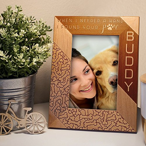 Lily's Atelier Personalized, Pet Memorial Picture Frame, Dog Memorial , Horizontal and Vertical Wooden Picture Photo Frame, 4x6 | 5x7 | 8x10 (Photo Personalized Frame Dog)