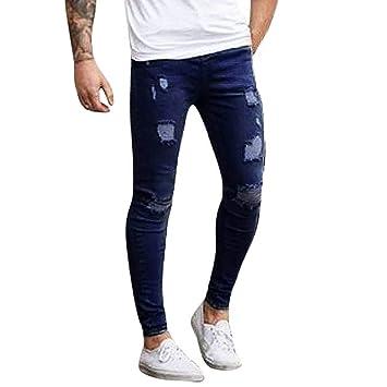 Hombres Pantalones, Manadlian Pantalones de hombre Elástico rasgado flaco Biker Jeans Destruido grabado Ajuste Pantalones Slim…
