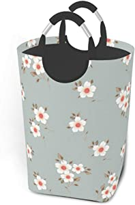 EJudge Laundry Basket Cute Pretty Flowers Chic Floral Large Collapsible Dirty Laundry Hamper Bag Tall Fabric Storage Baskets Rectangle Fold Washing Bin Hand Clothes Organizer for Kids,Dorm 50L