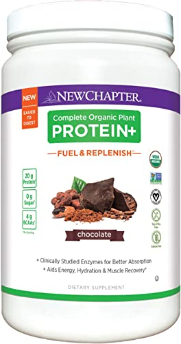 New Chapter Organic Plant Protein Fuel Replenish Chocolate, 20g of Vegan Protein Powder, Plant Based Protein Powder BCAA Amino Acids – 20 Servings, No Sugar, Low Carb Dairy Free, Non-GMO, Kosher