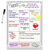 Dry Erase Vertical Weekly Magnet Board with Free Dry Erase Marker by Smart Planner | White Background | Magnetic Family Calendar Weekly Planner + Pen