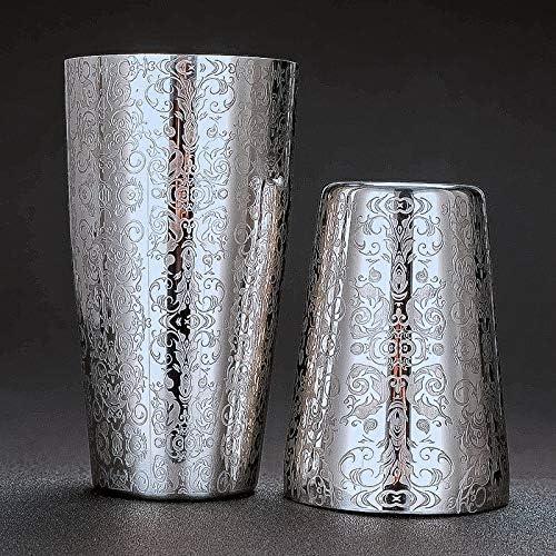 TOOGOO Cocktail Shaker Boston Shaker 304 Edelstahl Bar Werkzeug Kreatives Gravur Design Boston Cocktail Shaker Tin Set