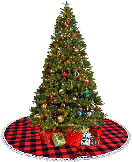 36in Sattiyrch Buffalo Plaid Christmas Tree Skirt with Pom Trim,Red Black Buffalo Check Christmas Tree Skirt for Holiday Christmas Decorations