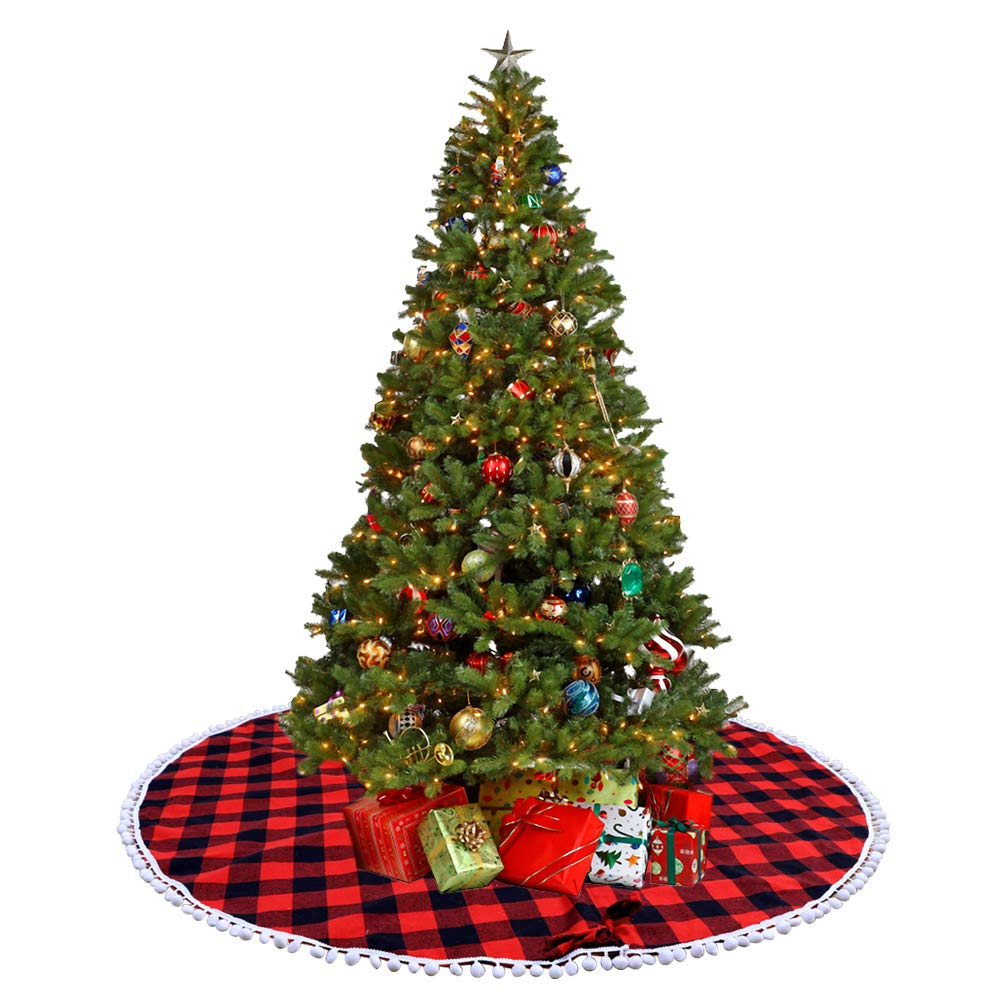 OurWarm Plaid Christmas Tree Skirts 48 Inch Red and Black Christmas Tree Skirt, Double Layer Cotton and Non Woven Fabric Indoor Outdoor Mat Xmas Party Holiday Decorations