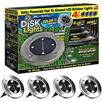 Disk Lights 4-LED Solar-powered Auto On/Off Outdoor...