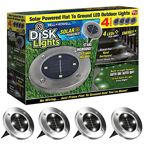 Cheap  Disk Lights 4-LED Solar-powered Auto On/Off Outdoor Lighting As Seen On TV..